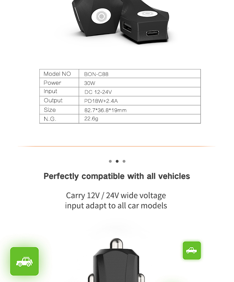 Best Selling Products In USA Dual USB car charger 5V 2.4A and Type C PD 18W Fast Mobile Phone Car Chargers