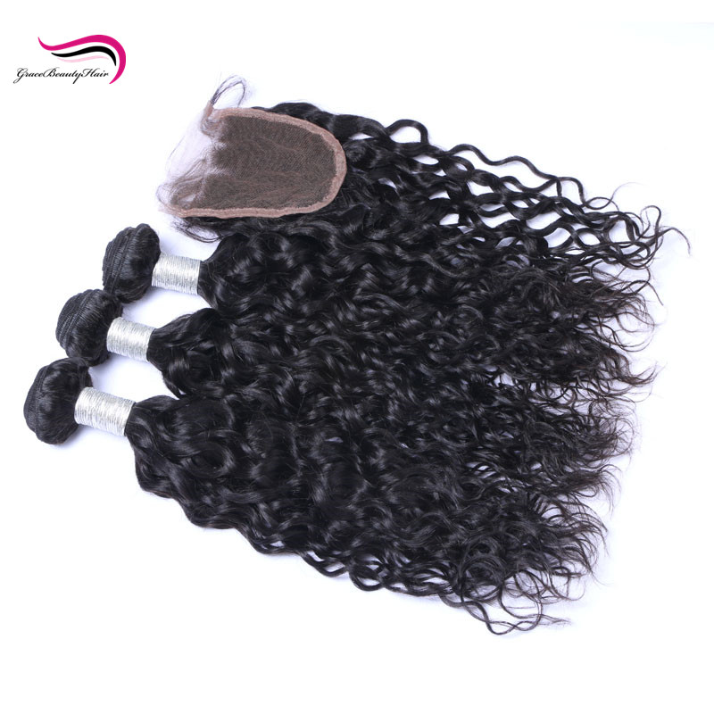 Mink Virgin Human Hair 10A European Mona Water Wave Hair Bundles With Closure <strong>For</strong> <strong>Sale</strong>