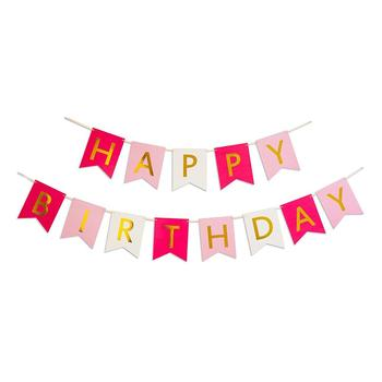 Event & Party Supplies Garlands Birthday Pink Gitter Gold Triangle Banner Flag Prince Happy Birthday Banner Flag