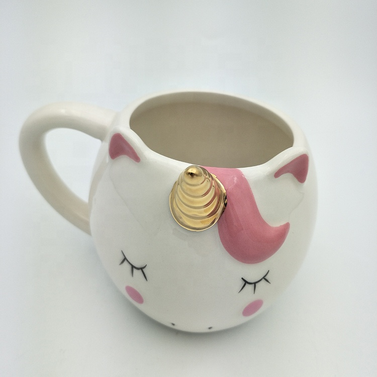 Cute Cartoon 3 <strong>D</strong> Unicorn Shaped Ceramic Coffee Mug for Giving Gifts
