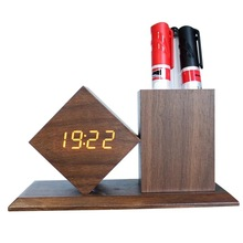 new material MDF <strong>pen</strong> <strong>holder</strong> with digital clock, led digit clock with <strong>pen</strong> <strong>holder</strong>, wooden <strong>pen</strong> stand with clock