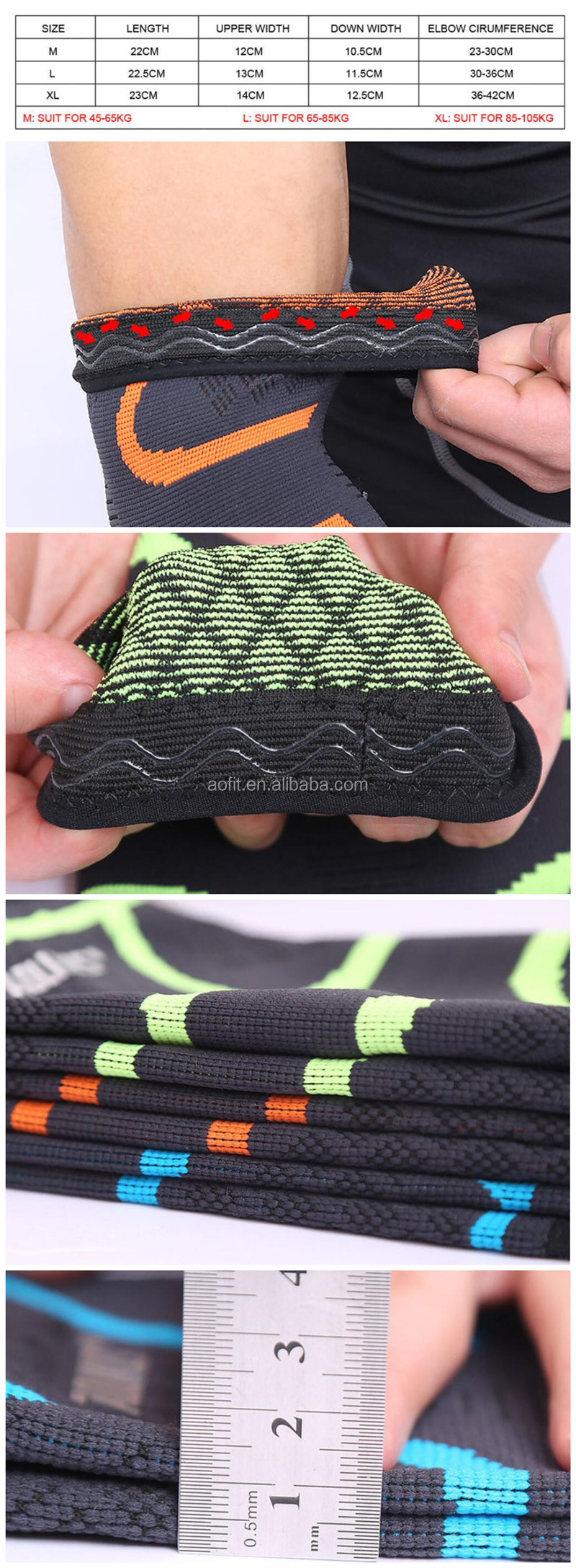 2019 Hot Sale Comfortable Knitting Compression Non-slip Elbow Brace Sleeve for sports kids adult