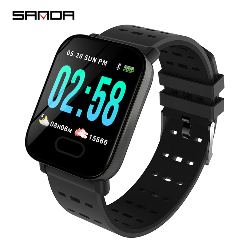 SANDA <strong>A06</strong> hot sell black unisex smart watch potty plastic strap water proof Multi function Simple sports relogio musculino