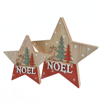 Hot new retail products Home Wedding decoration MDF Winter woodland Reindeer Stag Wooden Star NOEL Decor
