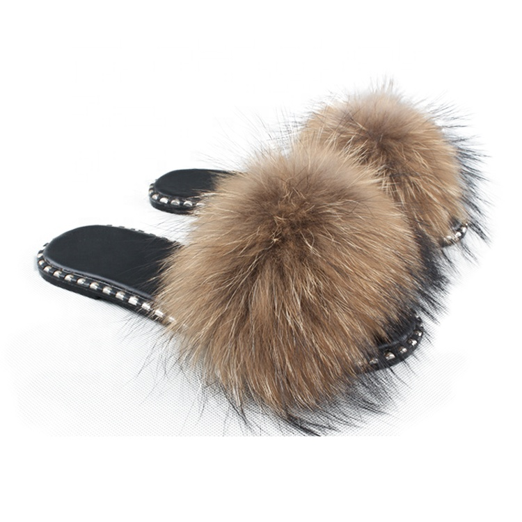 Wholesale Real Raccoon Fur Slide For Women Fluffy Sandals Fur <strong>Slippers</strong>