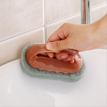 With handle bathroom bath tile kitchen decontamination washing pot magic sponge wipe cleaning sponge <strong>brush</strong>