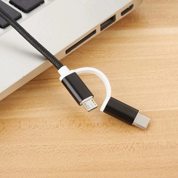 Nylon Braided USB C Micro usb type c 2 In 1 to male A cable usb for mobile phone Accessories