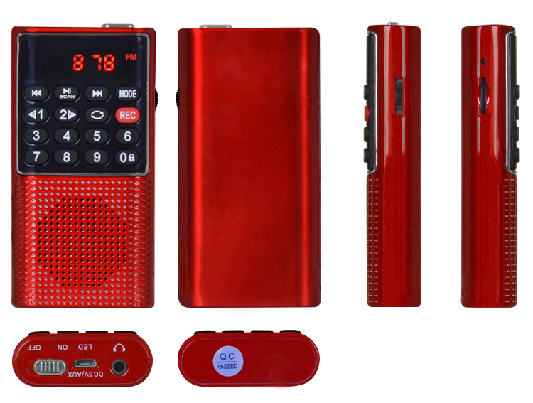 L-328 mini pocket voice recordable digital radio mp3 player with fm radio