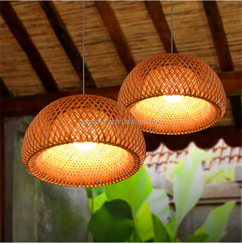 Bamboo LED pendant lamp weaving Lights Lanterns living room hotel restaurant