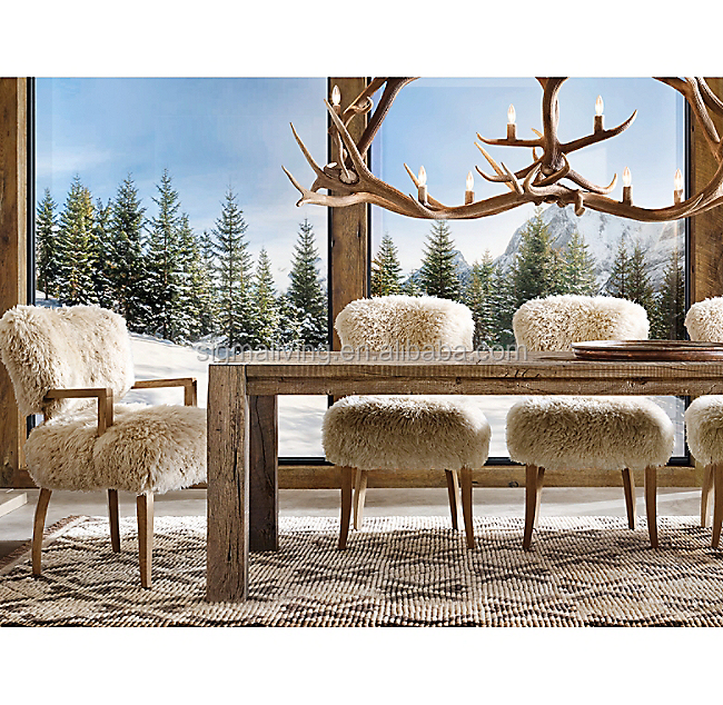 Home furniture gently flared back and padded seat living room dining chair sheepskin side chair