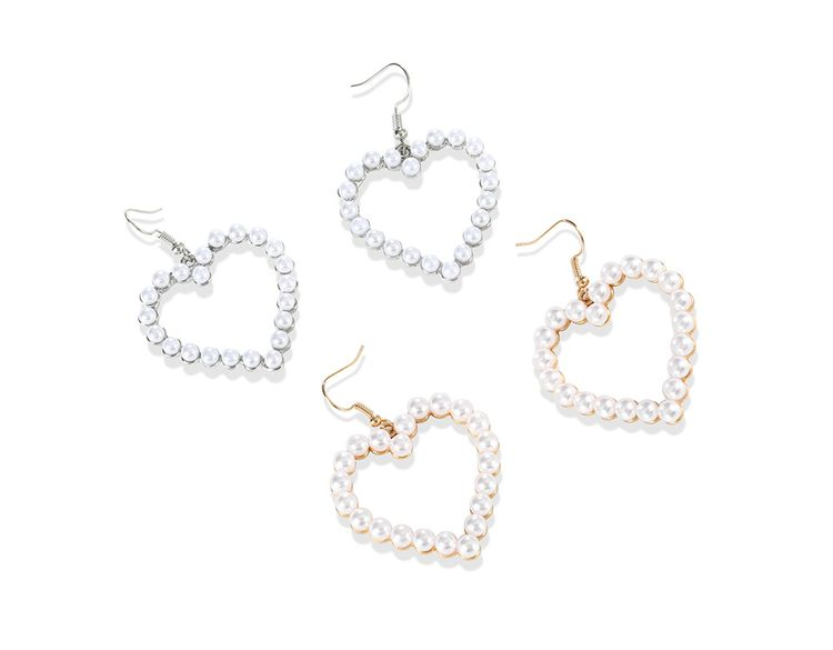 2019 Fashion Women Accessories Gold Plated Hollow Heart Pearl Dangle Earrings