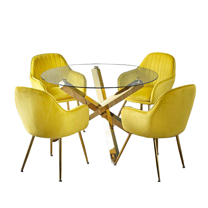 A8221 Restaurant round gold steel <strong>table</strong> and chair rental set for coffee shop