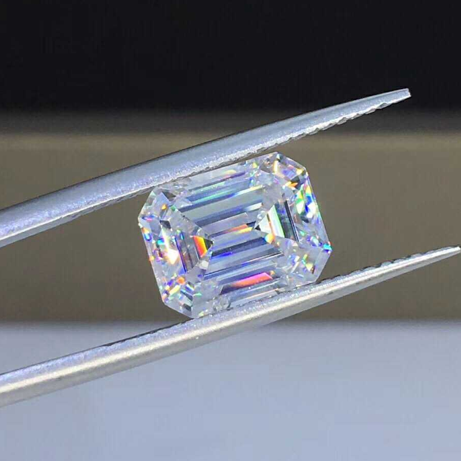 Wholesale gemstones emerald <strong>cut</strong> 5*7mm Moissanite synthetic diamond for gold ring