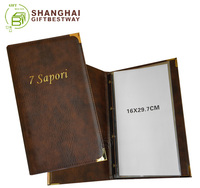 Hot sale high quality real leather menu book, flip menu holder, genuine leather menu cover