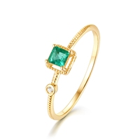 Square simple 925 sterling silver green nano-zircon engagement ring fashion fine jewelry