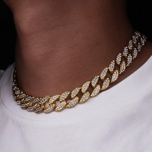 Bling Rhinestone Golden Finish Miami Cuban Link Chain <strong>Necklace</strong> Men's Hip hop <strong>Necklace</strong> Jewelry