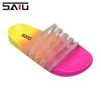 NEW DESIGN WOMEN PVC TRANSPARENT UPPER WITH DIAMOND SANDALS SLIDES LADY fashion SLIPPERS SANDALS