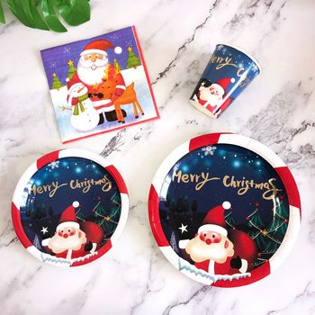 Christmas Decoration Supplies Paper Plates for Holiday Party Disposable Dinnerware Set Christmas Tableware