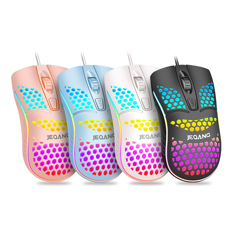 Plant Direct JEQANG JM-G102 Super Bright Honeycomb High Sensitivity 7 Color 4 <strong>D</strong> Cable Game Office USB Mouse