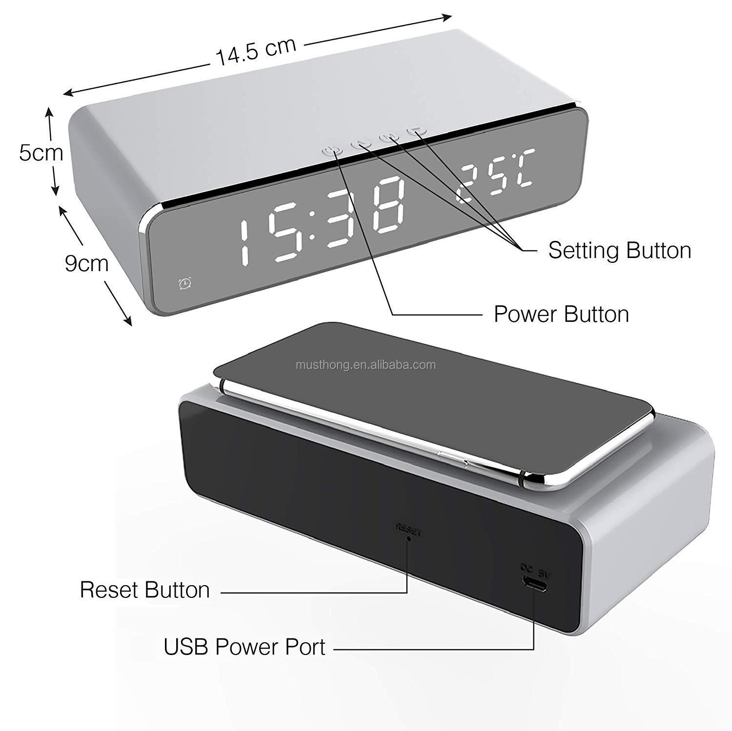 Factory Cheapest Price Wireless Charger LED Electric Alarm Clock with HD Mirror Display and Thermometer Function for Home Use