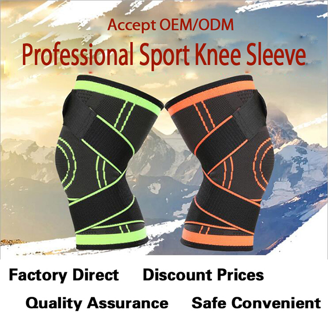 Compression Knee Sleeves Outdoor Sports 3D Weaving Knitted Knee Pads Volleyball Basketball Brace Safety