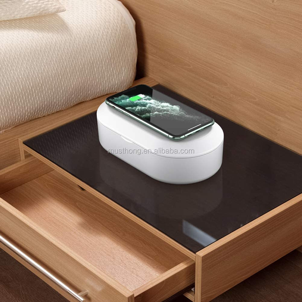 Multi-Function Fast Wireless Charger Mobile Phone UV Sanitizer And Portable UVC Lamp Ozone Aromatherapy Disinfector Box For