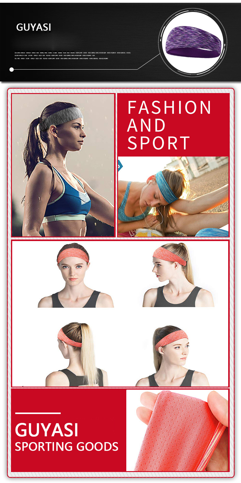 Online Hot Sale Product More Color Summer Yoga Sport Hair Band thin breathable Sweatband  For Girl