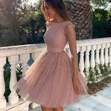 New Joys women clothes factory ladies backless long sleeve organza tulle <strong>dress</strong> pink <strong>party</strong> <strong>dress</strong>