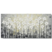 White Handpainted 3D White Flower Wall Art Canvas Oil Painting Pictures For Decoration