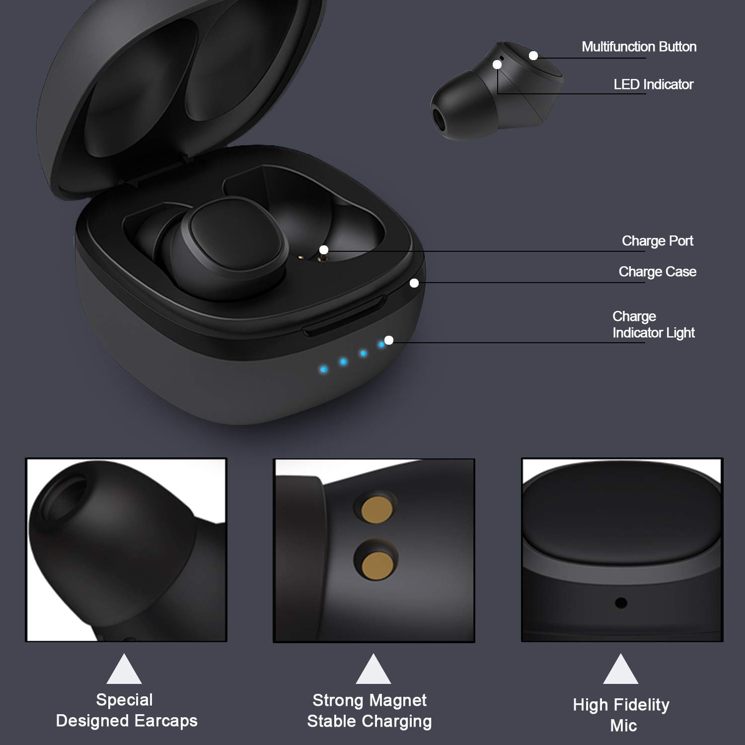 Low MOQ Customized logo TWS With Charging Box Wireless mini Bluetooth earphone headphones wireless headset earbuds