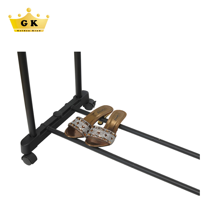 Double pole iron pipe clothing rack stand cloth rack for display