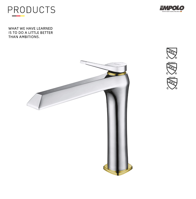 Modern Zirconium Gold Sink Mixer Tap Single Handle Bathroom Basin Faucet