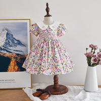 Summer kids girl clothing embroidery smocked floral children dresses