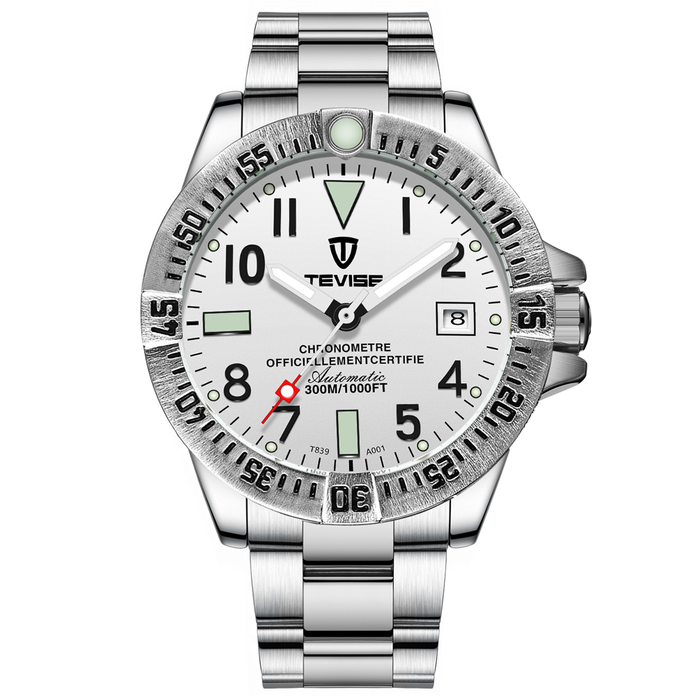 TEVISE Watch T839A-<strong>001</strong> Men's automatic Analog Wrist Watch Stainless Steel Band 3ATM Waterproof Military Sport <strong>w</strong>