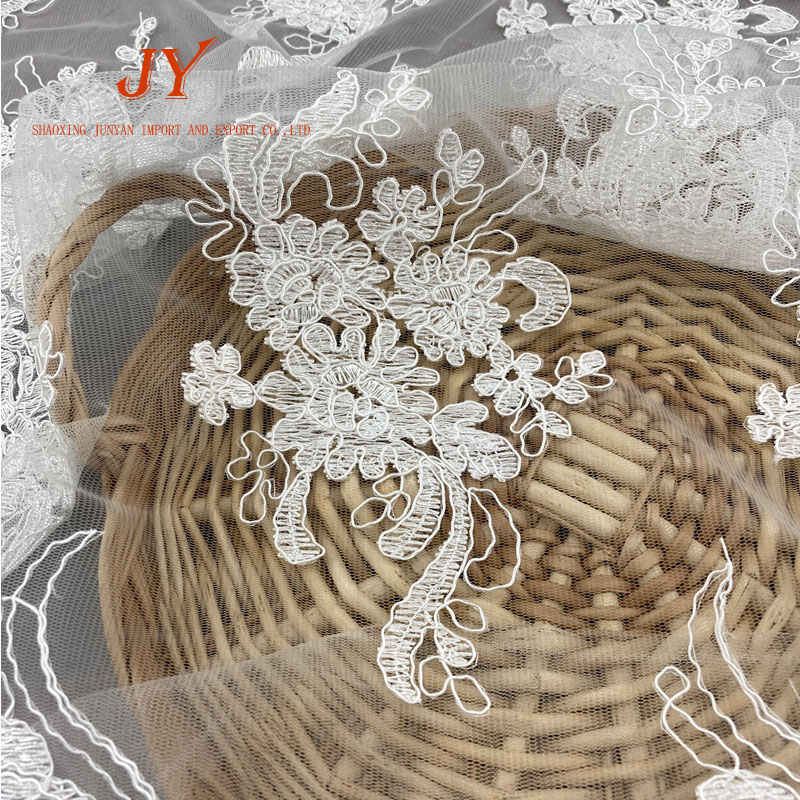high quality embroidered cording bridal lace fabric French lace dantel turkey vintage lace
