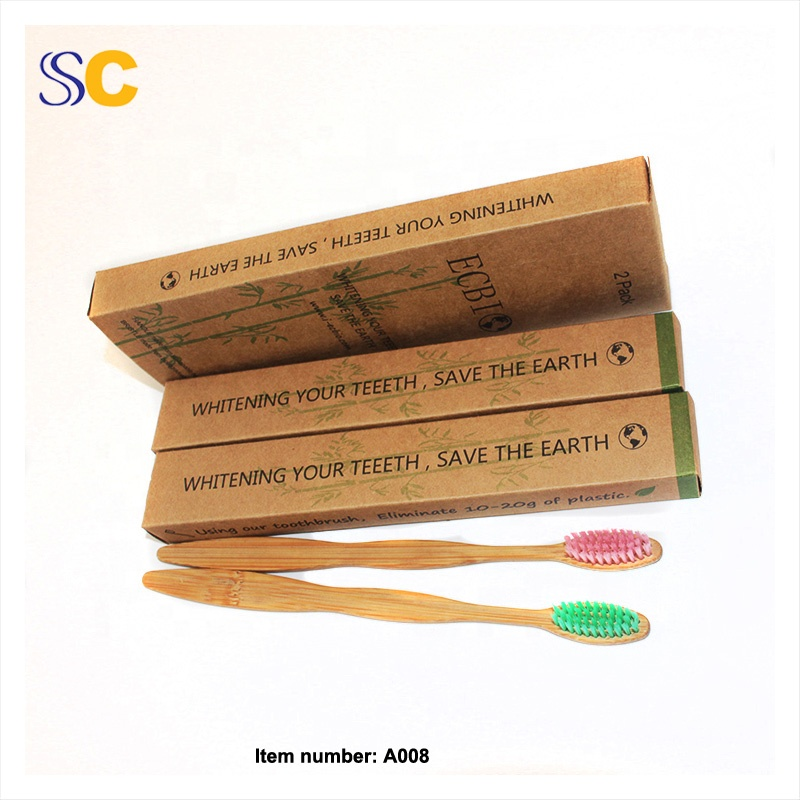 4 pcs / box Bamboo Toothbrush High-end Wholesale 100% Biodegradable eco cheap custom OEMtoothbrush bamboo tooth brush 4 pack
