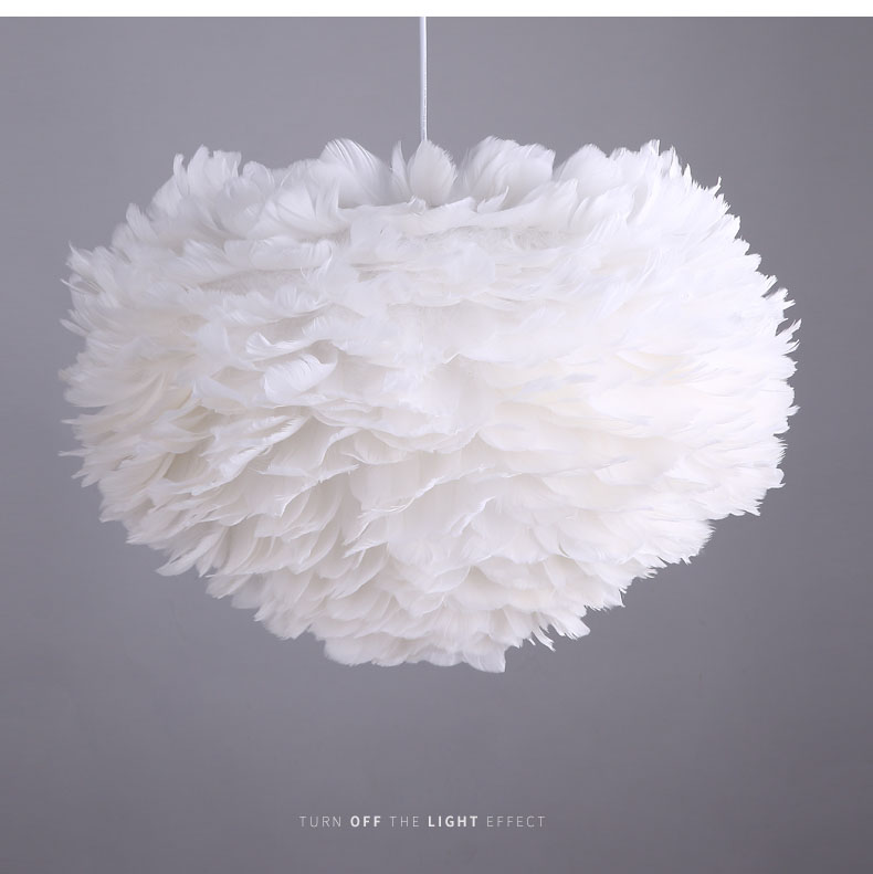 Nordic modern style bedroom chandelier multi-color feather lamp