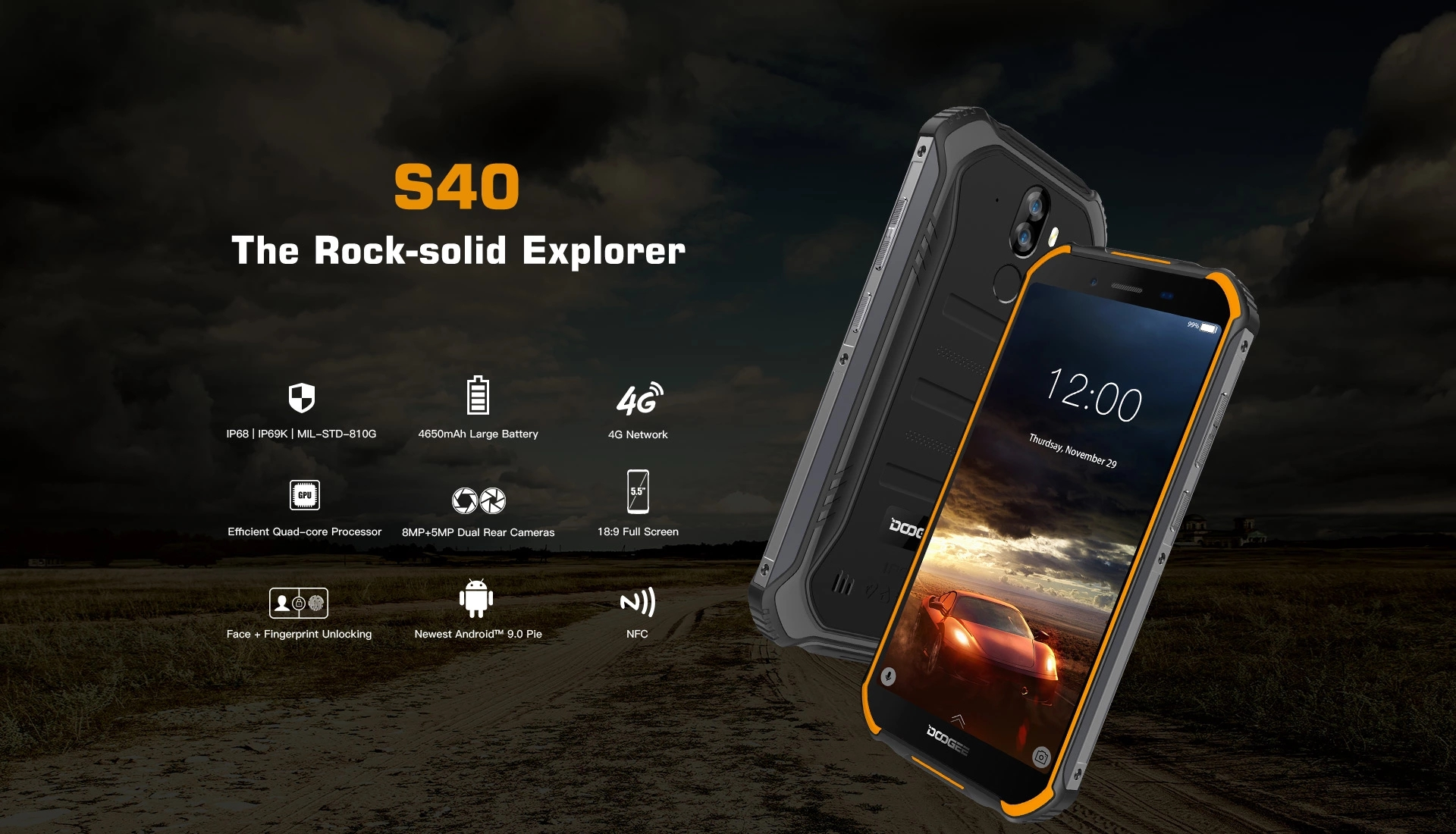 DOOGEE S40 Android 9.0 4G Network Rugged Mobile Phone 5.5inch Cell Phone 3GB RAM 32GB ROM Smartphone