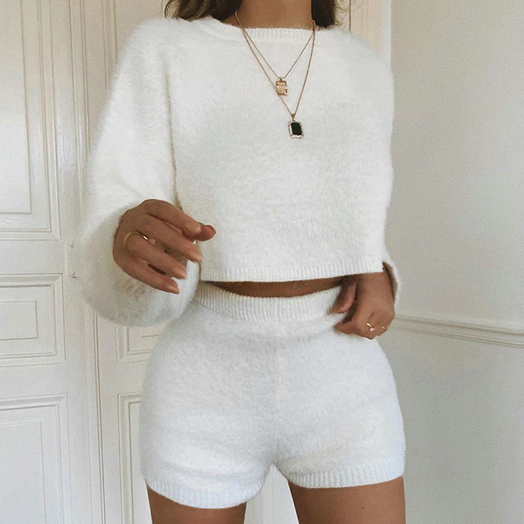 Long Sleeve White Two Piece Short Outfits <strong>Sets</strong> Fall 2019 Womens Fashion