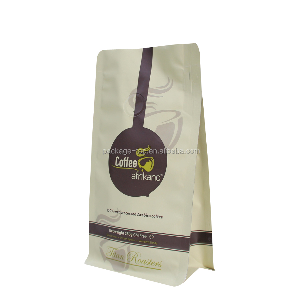 Wholesale resealable stand up ziplock kraft paper coffee packaging bag with vale