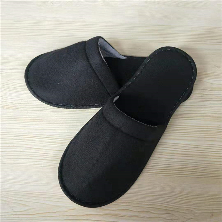 Hotel Black Bathroom Slippers with 29cm length for Big Feet