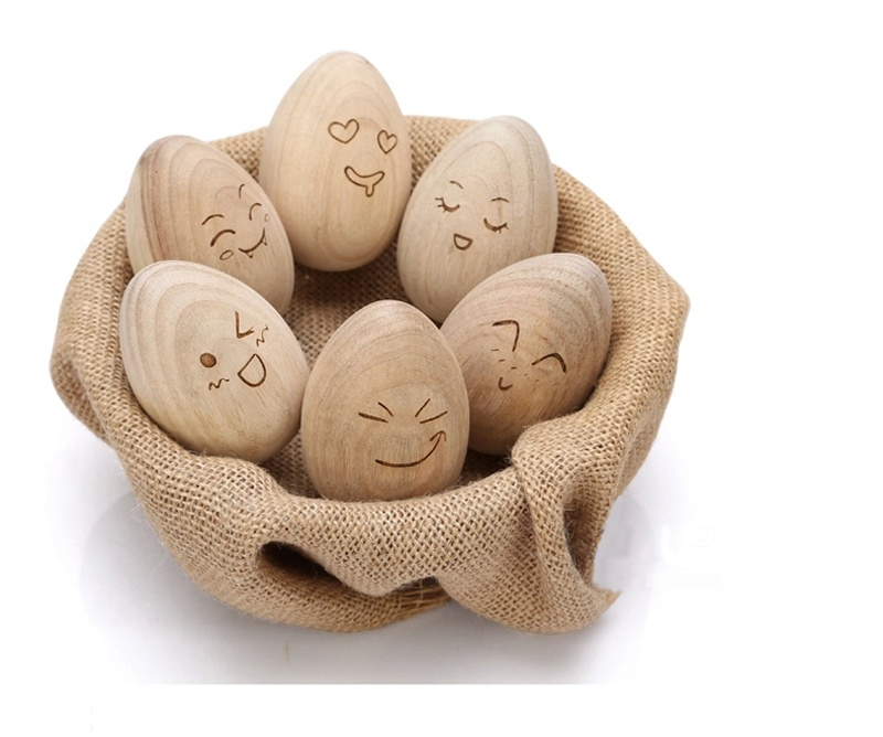 Wooden Easter Chicken Eggs Fake Eggs Unfinished Wooden Easter DIY Craft Eggs Ready to Paint and Decorate Develoo 10PCS Unpainted Wooden Eggs