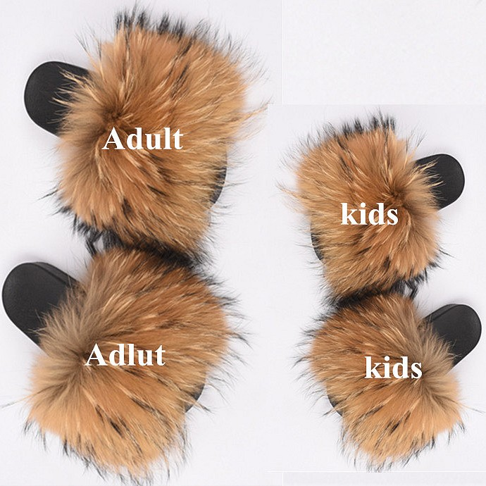 Children Fashion Real Fox Fur Slides toddler girls fur Sandals Mother and child new design cheap kids fur <strong>slipper</strong>