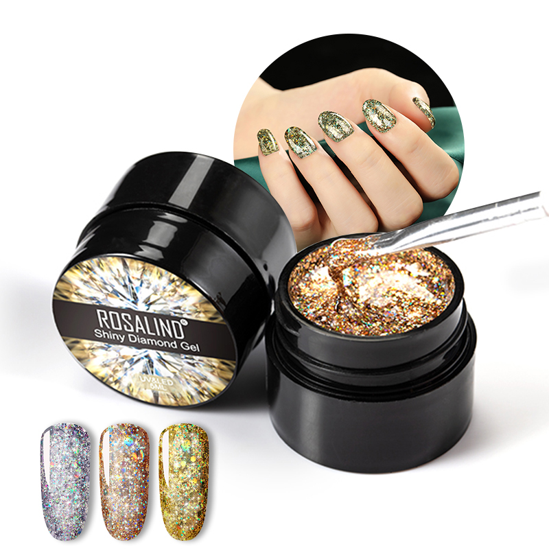 Rosalind new arrival private label 5ml shiny diamond <strong>gel</strong> polish soak off semi permanent uv <strong>gel</strong> nail polish for wholesale