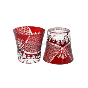 Cased red glass cup water cup whisky cup handmade Bohemia style for gift wedding