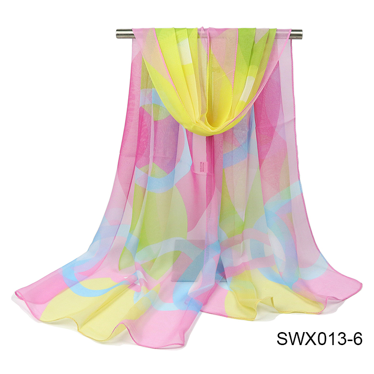 Colorful Fashion Women Cheap Scarf Printed Flower Polyester Scarves