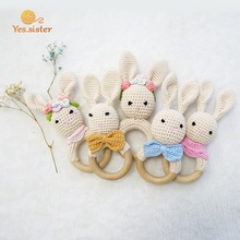 Hot Sale Cheap Easter Crochet Teething Bunny Beech Wooden Baby Rattle Teether Toy