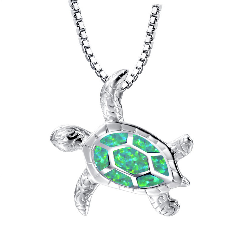 Fashion Blue Imitati Opal Sea Turtle Pendant Necklace for Women Female Animal Wedding Ocean Beach Jewelry