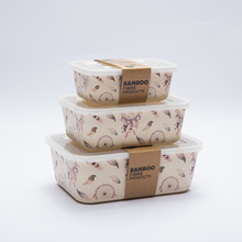 OEM FDA approved rectangular custom airtight reusable biodegradable stackable bamboo fiber food storage container set with lid