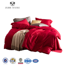 Home use bed sheets 100% cotton plain satin 60s red cheap price disposable comforter <strong>set</strong>